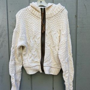 Free People Zip Hooded Cardigan Sweater Cream